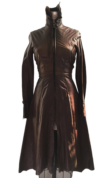 MB LC03 Lambskin Leather 3/4 Length Coat with Back inward Dart detail - Some Things Dark
