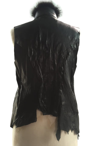 MB LV11 Lambskin Leather Vest With Fur Collar - Some Things Dark
