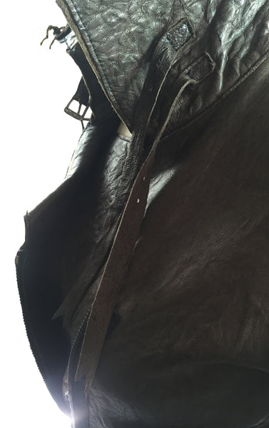 MB LC28 Lambskin Leather Long Coat Raw Cut with Side Double Zipper - Some Things Dark