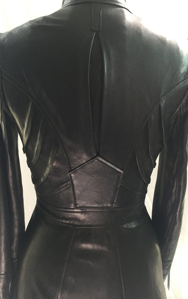 MB LC12 Long Lambskin Leather Coat Matrix Raw Cut - Some Things Dark