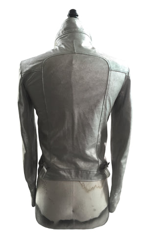 MB LJ08 Lambskin Leather Jacket, Side and Collar Buckles Patch Pockets - Some Things Dark