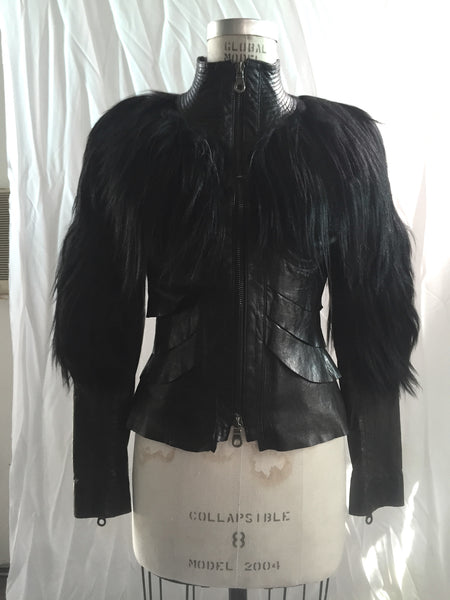 MB LJ15 Lambskin Leather and Fur Layered Jacket - Some Things Dark