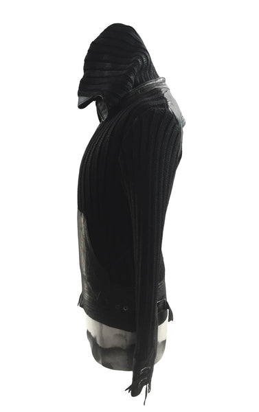 MB KN21 Italian Waxed Wool and Leather Hoodie - Some Things Dark