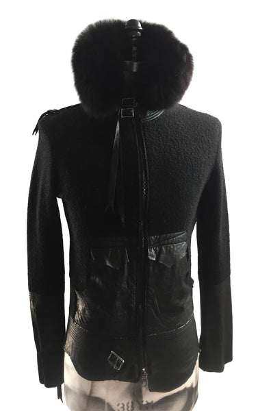MB KN18 Italian Boiled Wool Jacket With Leather Details and Fur - Some Things Dark