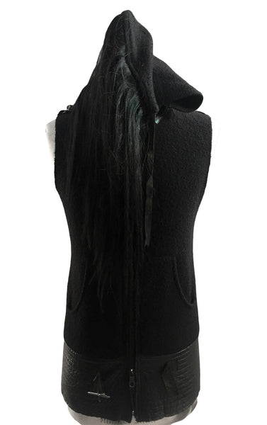 MB HV24 Italian Boiled Wool Hooded Vest with Horse Hair - Some Things Dark