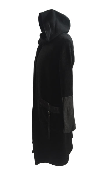 MB CO23 Italian Boiled Wool Hooded Coat with Leather Details - Some Things Dark