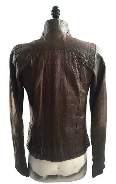 MB LJ14 Lambskin Leather Jacket Layered Leather Detailing - Some Things Dark