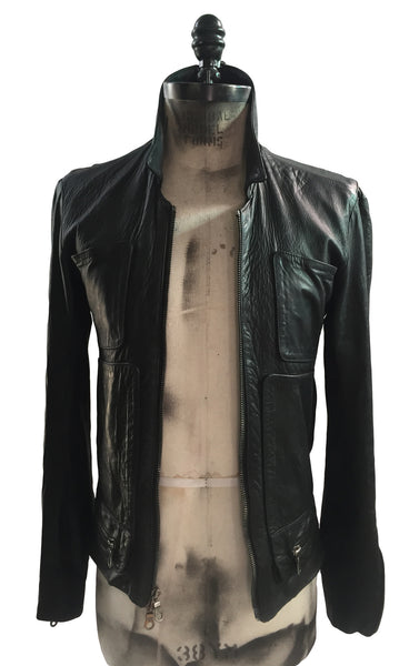 MB LJ16 Lambskin Leather Jacket 4 Pockets Front Double side Buckles Zipper Shirt Collar - Some Things Dark