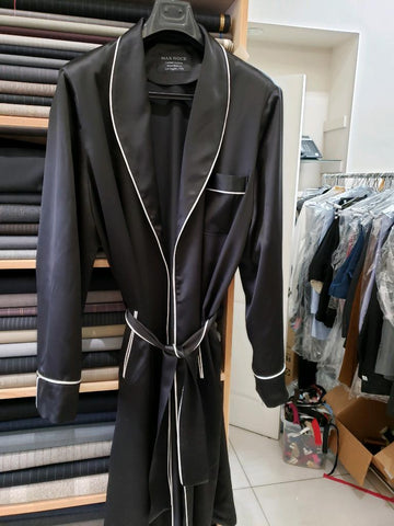 Silk robe with vintage silk piping - Some Things Dark