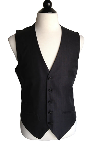 MN VE01 Vest Super 120's Italian Wool and Silk 5 Buttons Front - Some Things Dark