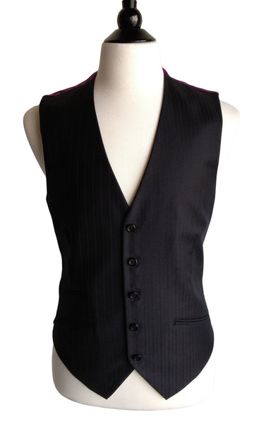 MN VE02 Vest Italian Super 120s Wool pinstriped and Silk - Some Things Dark