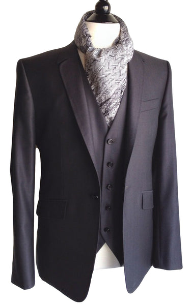 MN JK03 Suit Jacket Italian super 120's Wool and Silk Rounded Lapel - Some Things Dark