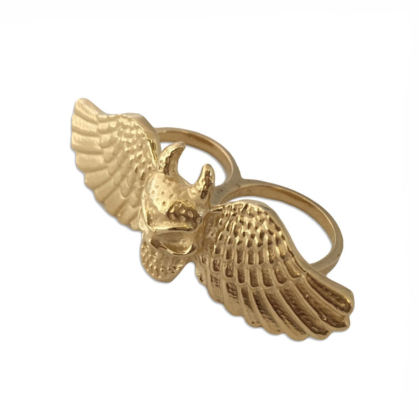 MB JR03 Horned Skull Wings Two Finger Ring Sterling Silver and 14k Gold Plated - Some Things Dark