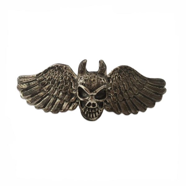 MB JR04 Horned Skull Wings Two Finger Ring in Sterling Silver - Some Things Dark