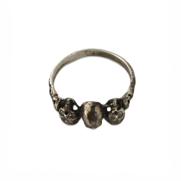 MB JR06 Trinity Skull Ring in Sterling Silver with Diamond Eyes - Some Things Dark