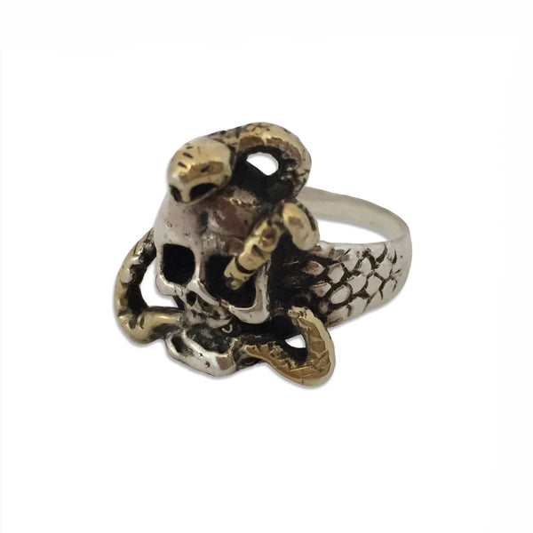 MB JR07 Memento Mori Ring in Sterling Silver with 14K Gold Snake - Some Things Dark