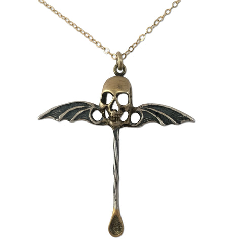 MB JN02 Snuff Spoon Bat Wing Skull Pendant in Sterling Silver and 14k Gold Plated - Some Things Dark