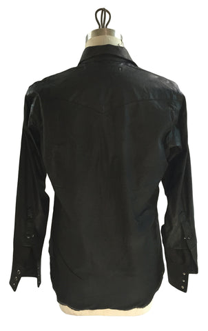 DR SH14 Vintage Waxed Cotton Shirt w Leather Detailing, Lined - Some Things Dark