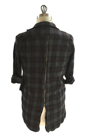 DR SH05 Long Flannel Shirt long zipper back - Some Things Dark