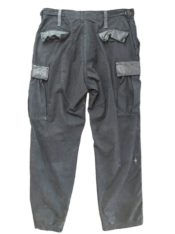 DR PA08 Leather Detailed Military Cargo Pants - Some Things Dark