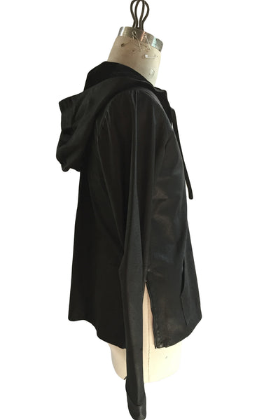 DR LH03 Leather Hoodie with zipper sleeves - Some Things Dark