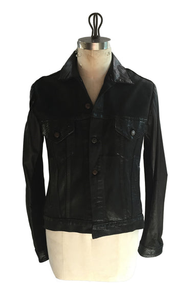 DR JK12 Denim Jacket Python trims w leather sleeves - Some Things Dark