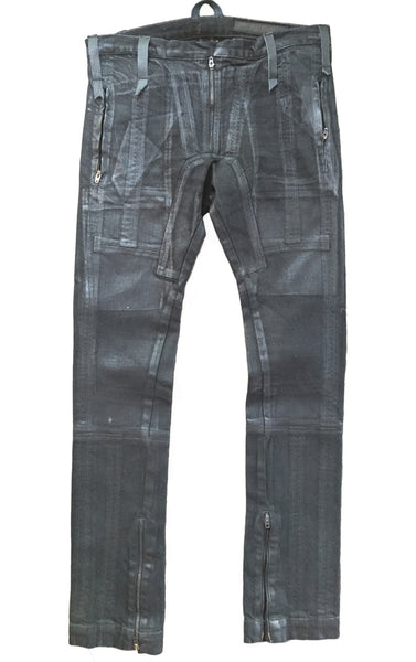DR PA01 Waxed Jeans multi pockets w patches - Some Things Dark
