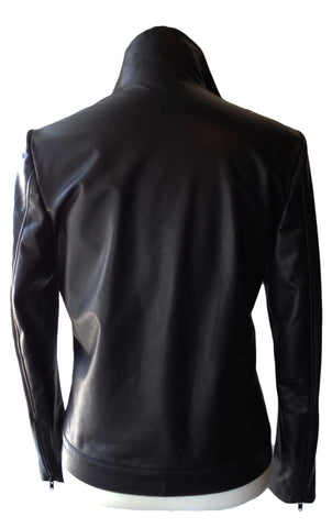 MN LJ32 Italian Lambskin Motor Leather Jacket - Some Things Dark