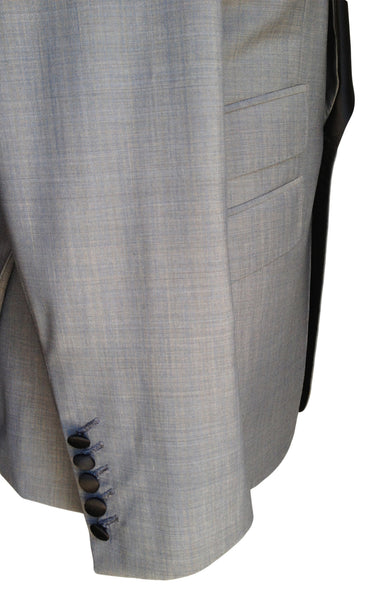MN JK04 Tuxedo Jacket Super 120s Italian Wool Silk Shawl Collar - Some Things Dark