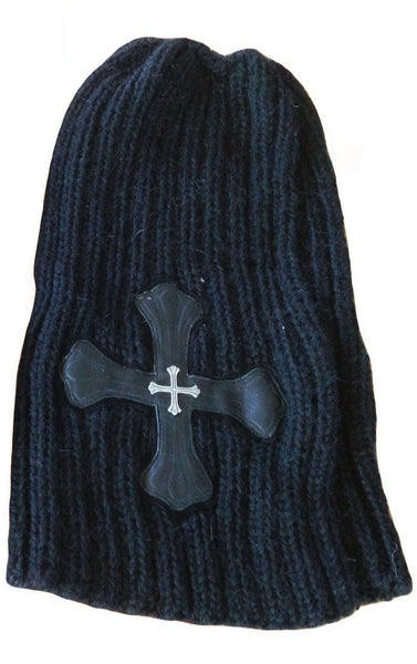 DR HA05 Cashmere and Alpaca Wool Beanie w Cross - Some Things Dark