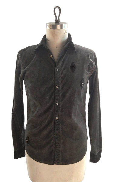 DR SH09 Cotton Shirt Leather Detailing w Sterling Crosses - Some Things Dark
