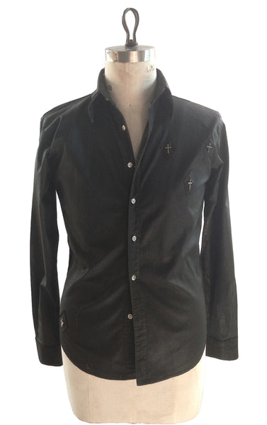 DR SH10 Waxed Cotton Shirt w Sterling Silver Crosses - Some Things Dark