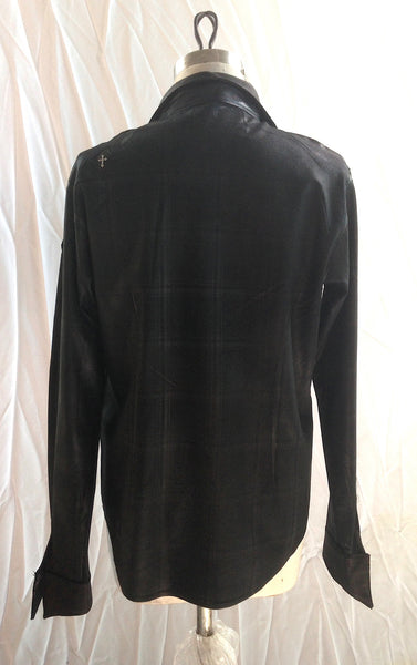 DR SH11 Waxed Shirt in Cotton checkered with Leather detailing - Some Things Dark