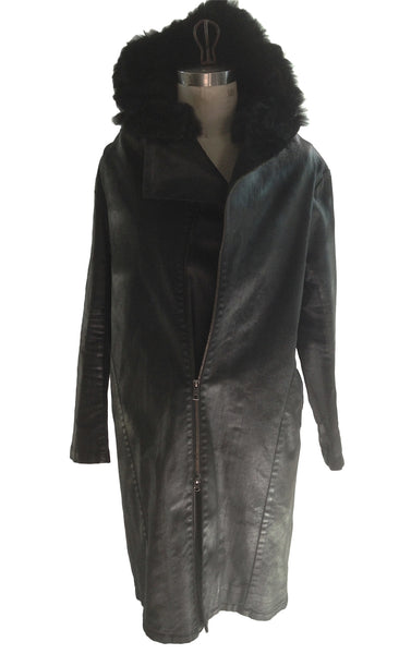 DR CO04 Long Coat Waxed Cotton Fur Hood - Some Things Dark
