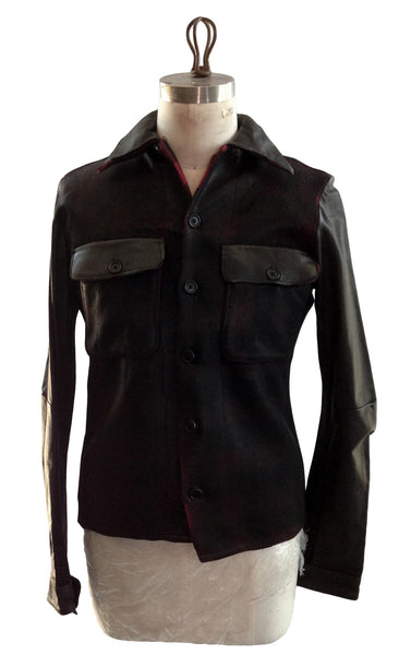 DR SH21 Waxed Flannel Shirt with Leather Sleeves - Some Things Dark