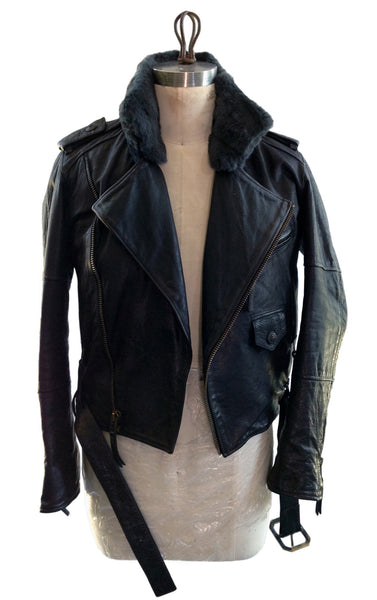 DR JK03 Leather Motor Jacket Fur Collar D/B - Some Things Dark