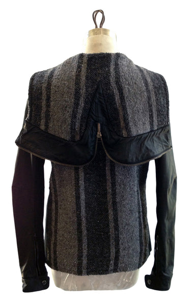 DR VH14 Vintage Poncho Jacket w Leather sleeves