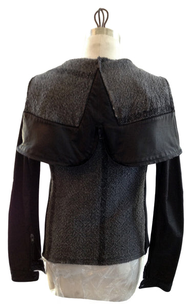 DR VH02 Vintage poncho hoodie with Leather sleeves/trims - Some Things Dark