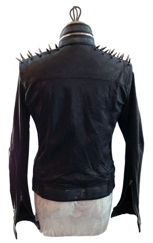 DR JK22 Leather Jacket Spikes Shoulders, Studs Details - Some Things Dark