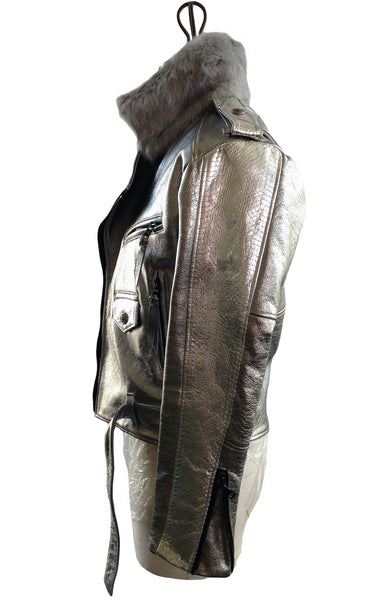 DR JKB1 Leather Motor Jacket Silver Fur Collar, Silk Lined - Some Things Dark