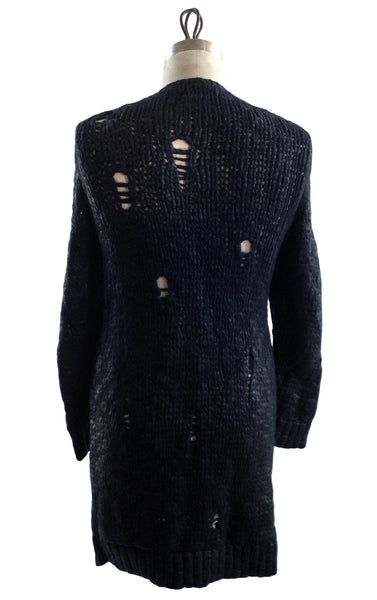 DR KN02 Long Waxed Wool Cardigan - Some Things Dark
