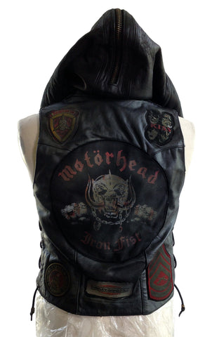 DR VE03 Leather Vest with vintage patches, fur hood - Some Things Dark