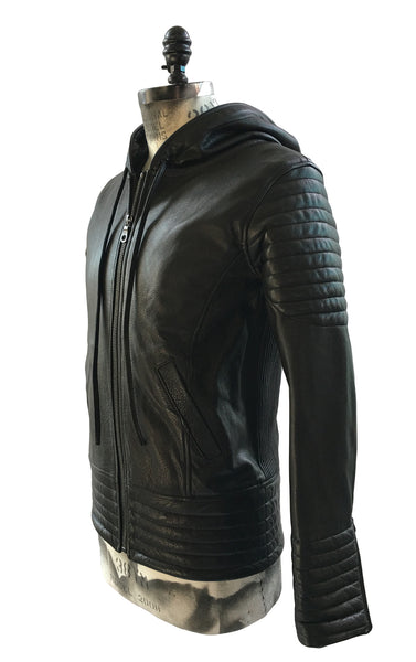 BV LJ03 Black Leather Jacket with Hood, padded panels. - Some Things Dark
