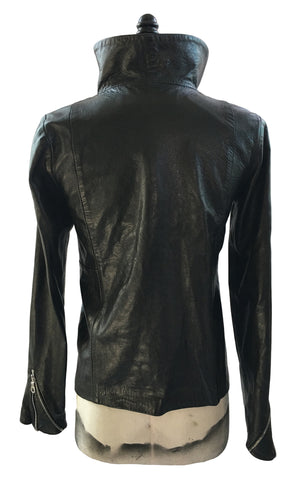BV LJ04 Black Leather Jacket Funnel Collar Diagonal Zipper Front - Some Things Dark