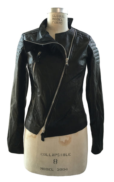 BV WLJ05 Woman's Black Leather Motorcycle Jacket with padding - Some Things Dark