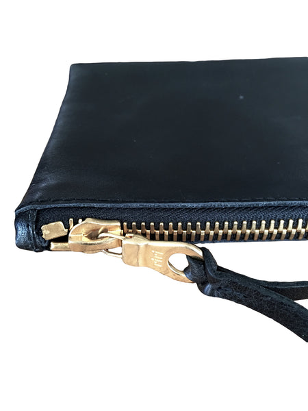 BV LW07 Black Italian Leather Wallet Riri Gold colored Zipper - Some Things Dark