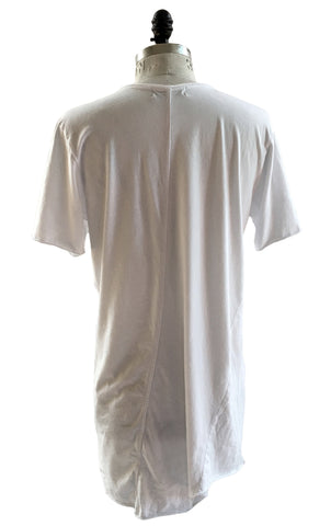 BV TS16 Long white T-shirt 100% Cotton with front logo - Some Things Dark