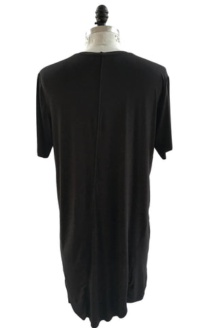 BV TS17 Long Black T-shirt in modal and front logo - Some Things Dark