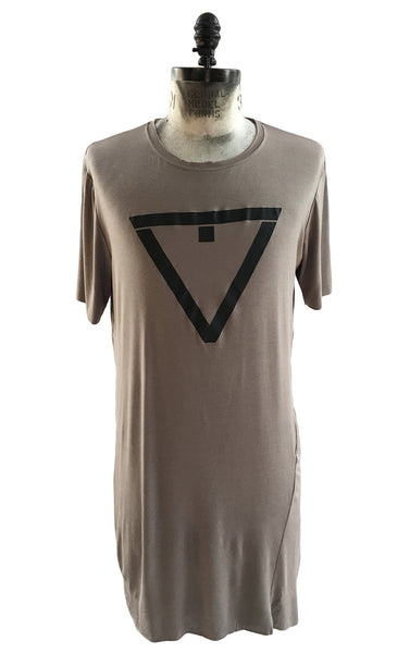 BV TS21 Long Taupe T-shirt in Modal with front Logo - Some Things Dark