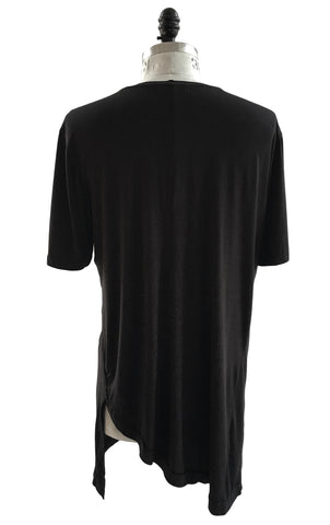 BV TS24 Long Black T-Shirt 100% Fine Cotton curved sides detailing - Some Things Dark